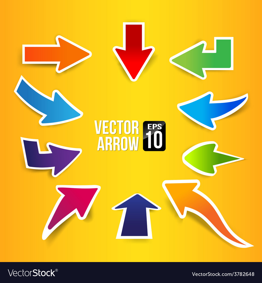 Arrow symbol with drop shadow 002 vector