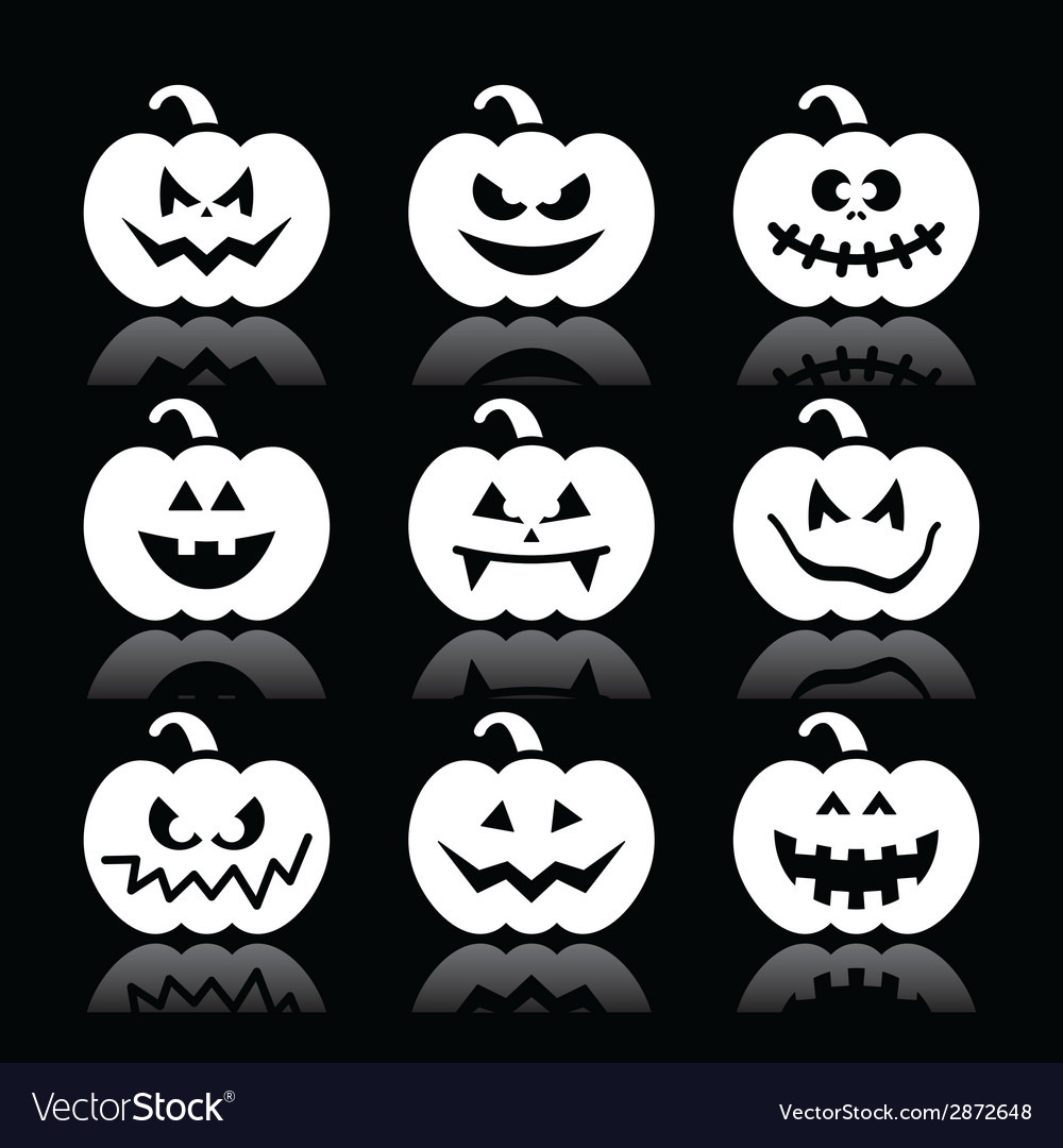 Halloween pumpkin icons set on black vector