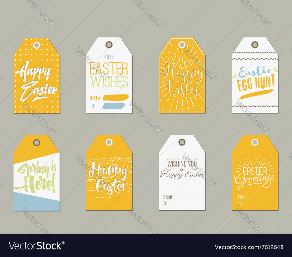 Set of happy easter gift tags with ink lettering vector