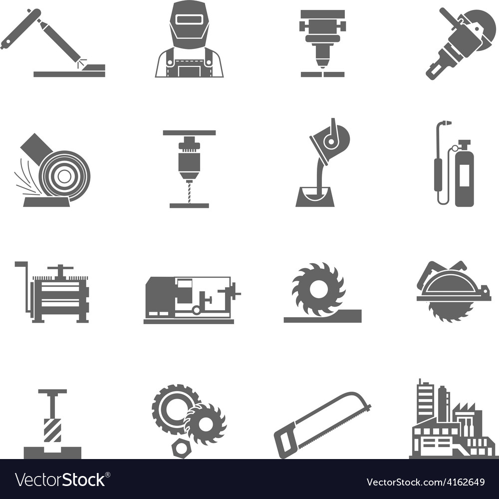 Metalworking icon set vector