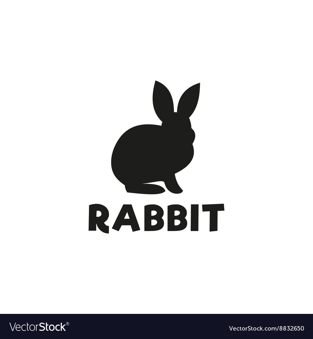 Silhouette of a rabbit sitting under logo pet vector