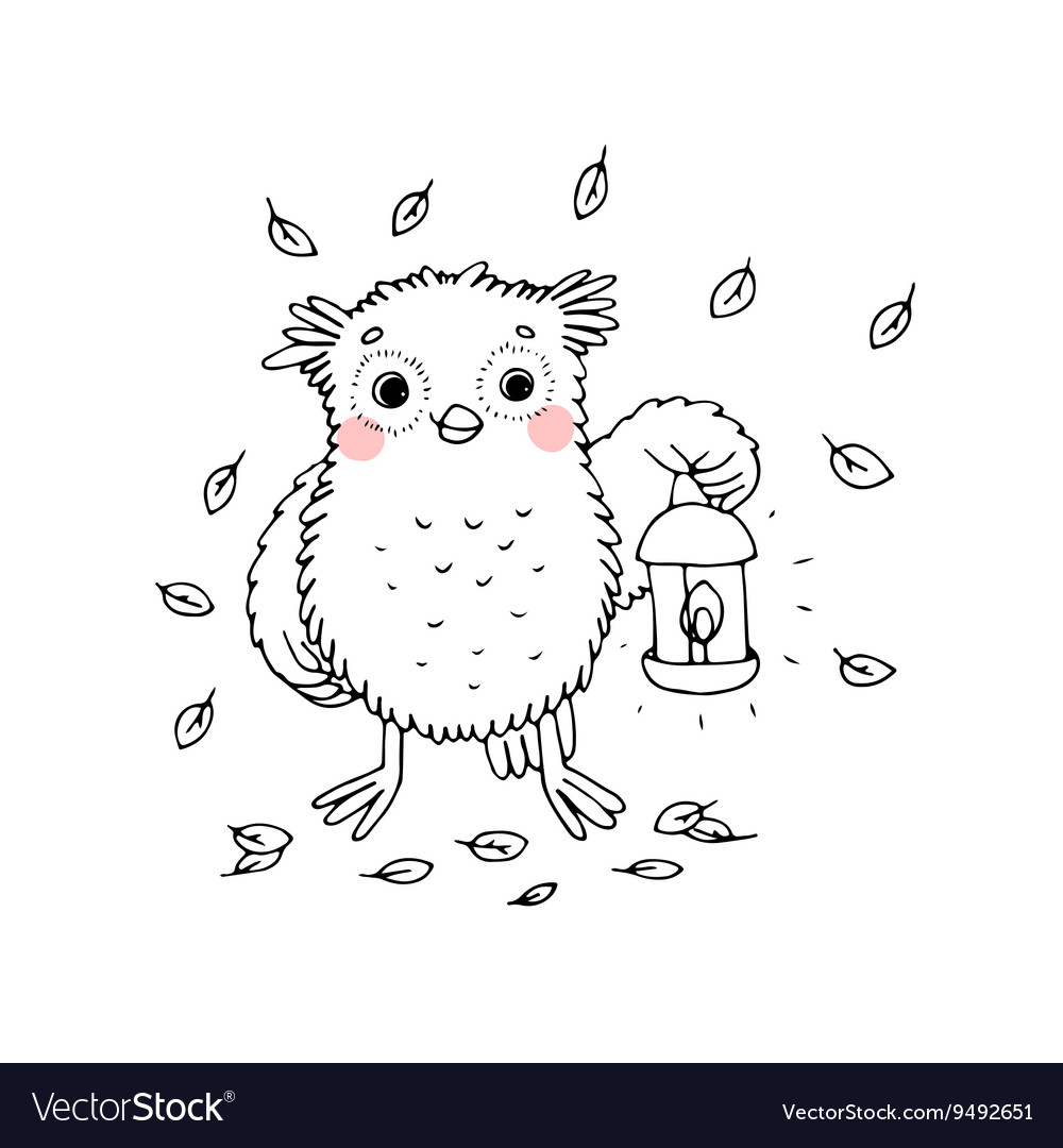 Owl with a lantern vector