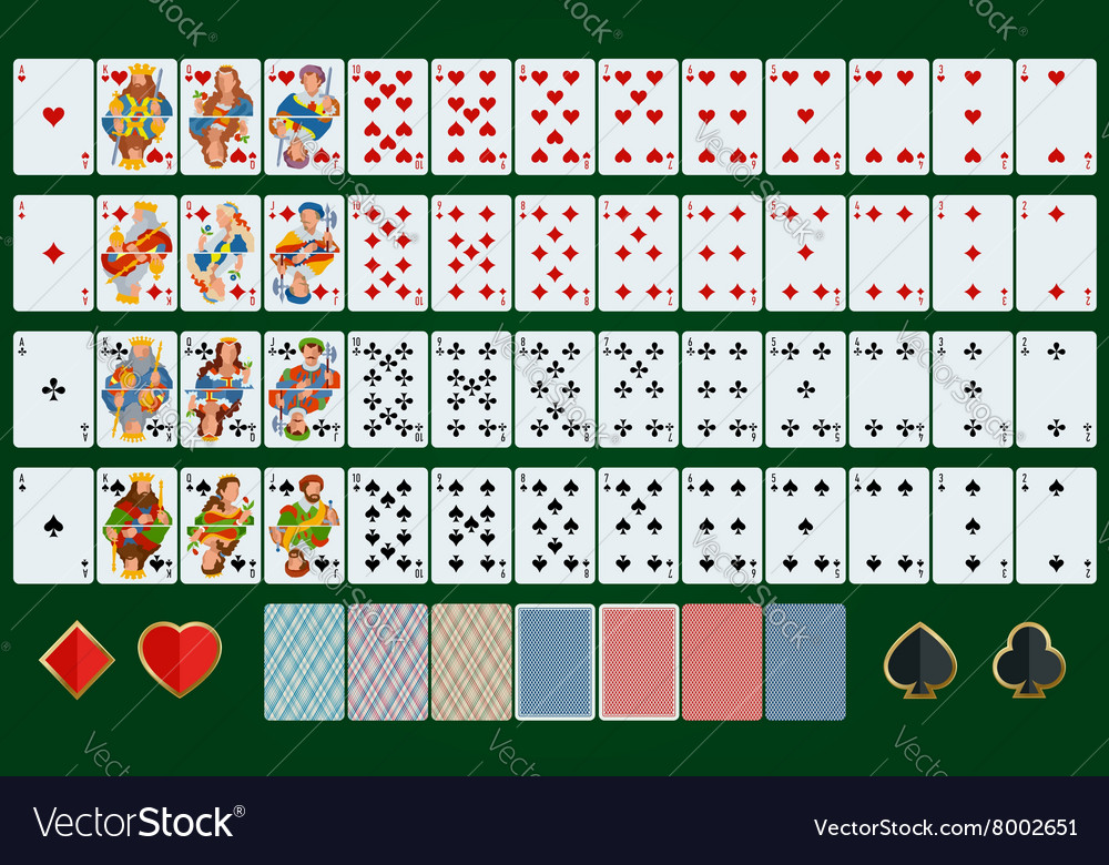 Poker cards full set flat design poker set with vector
