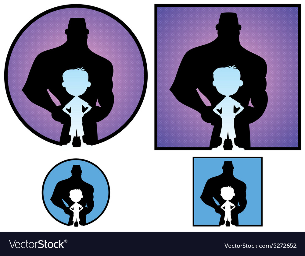 Boy and man vector
