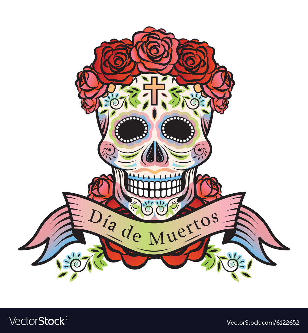 Day of the dead skull with roses and label vector