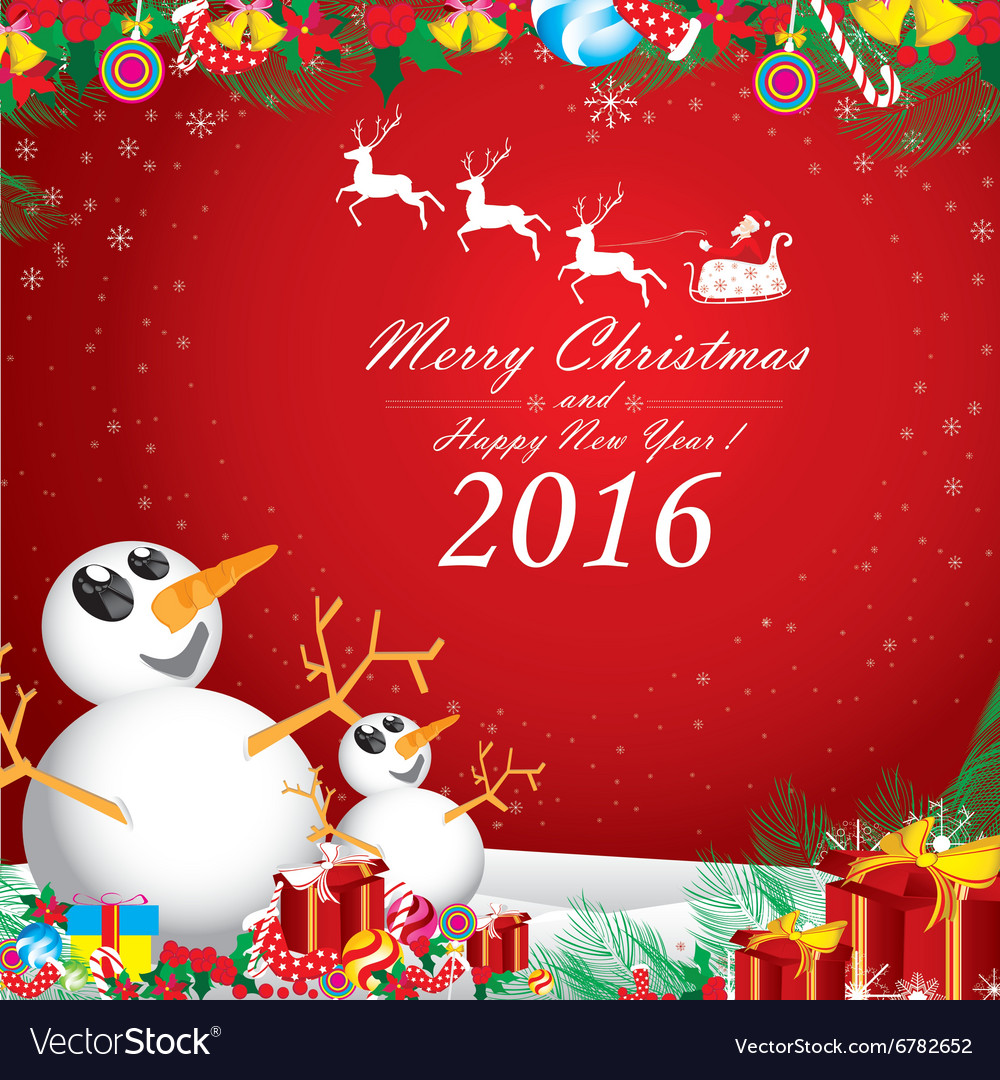 Merry christmas and happy new year 2016 two vector