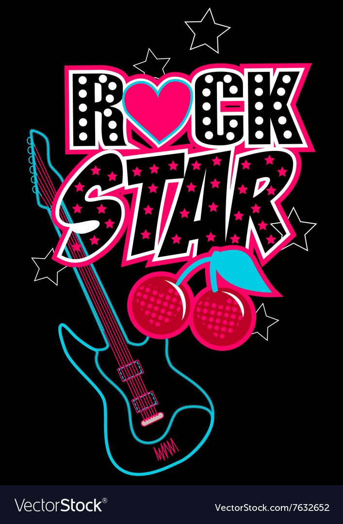 Rock star poster with guitar and abstract cherries vector