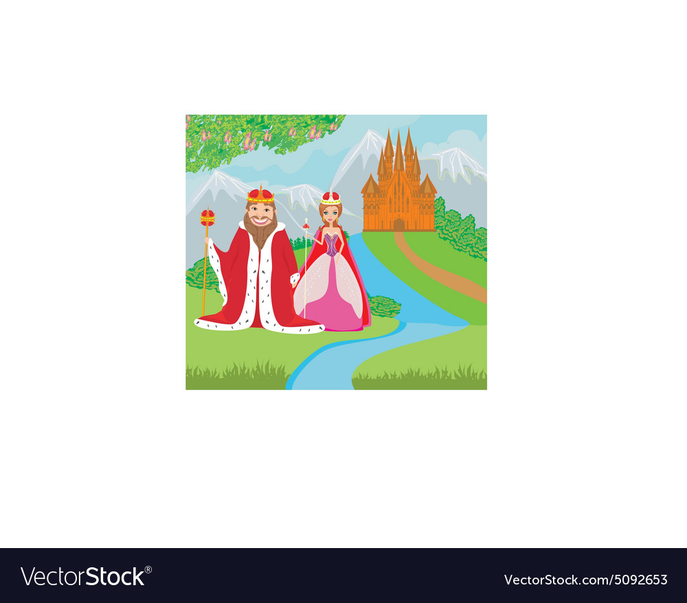 Queen and king are in front of the castle vector