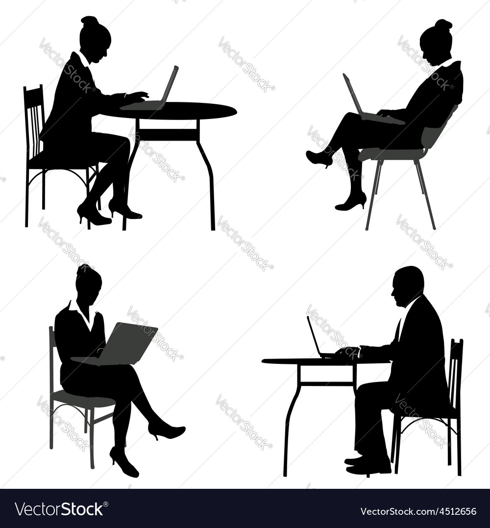 Business people laptops vector