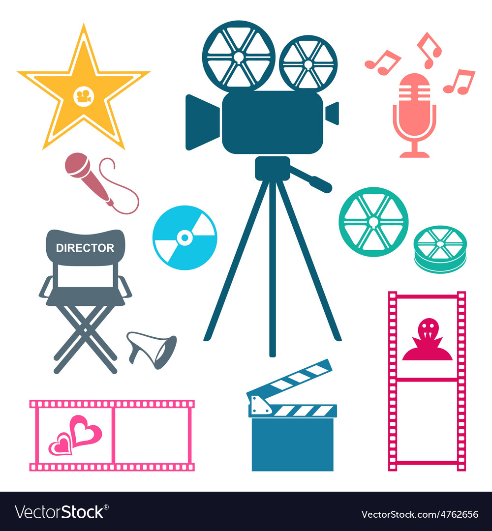Colorful movie and music icons movie and music vector