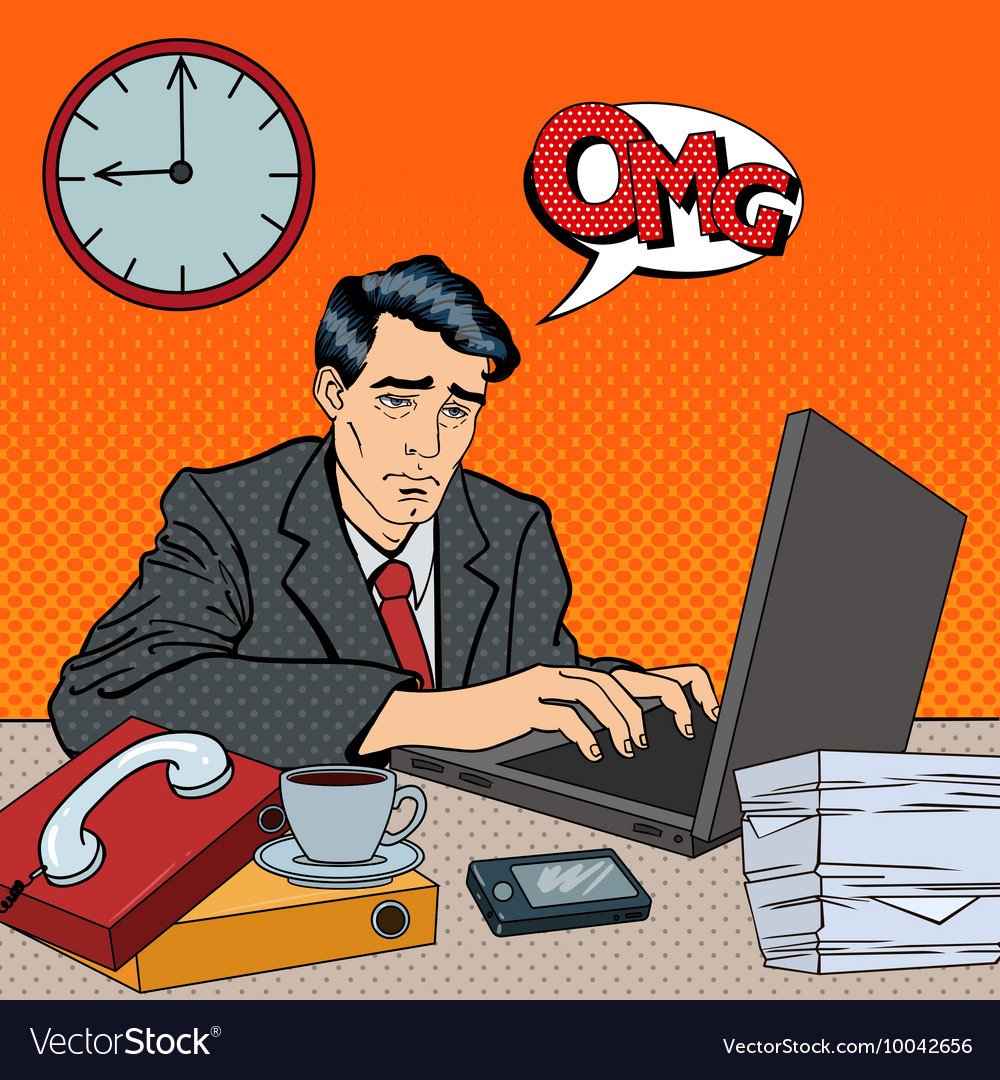 Depressed businessman stayed late at work pop art vector