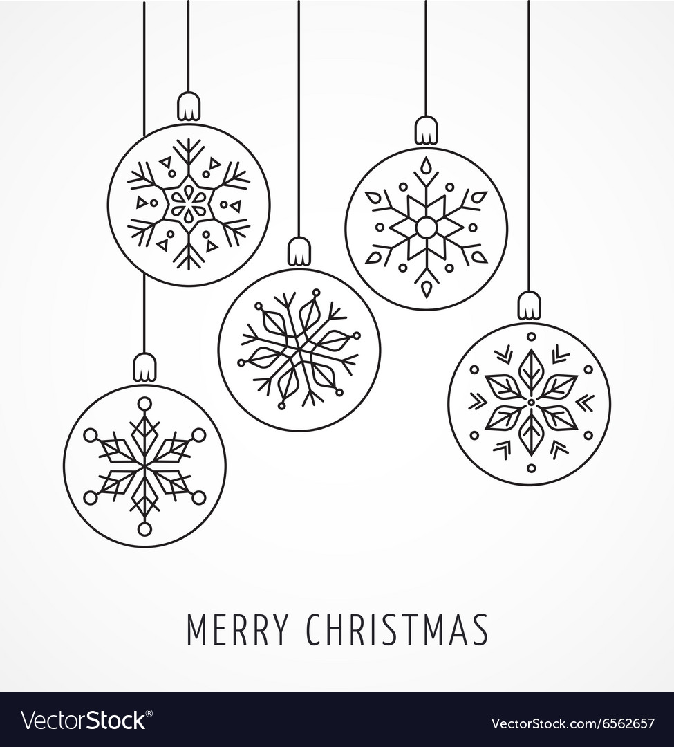 Snowlakes geometric christmas ornaments vector
