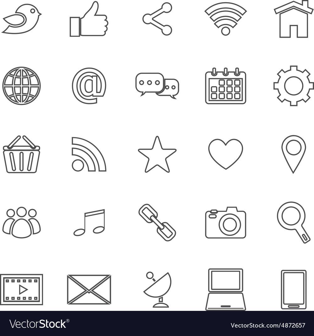 Social media line icons on white background vector