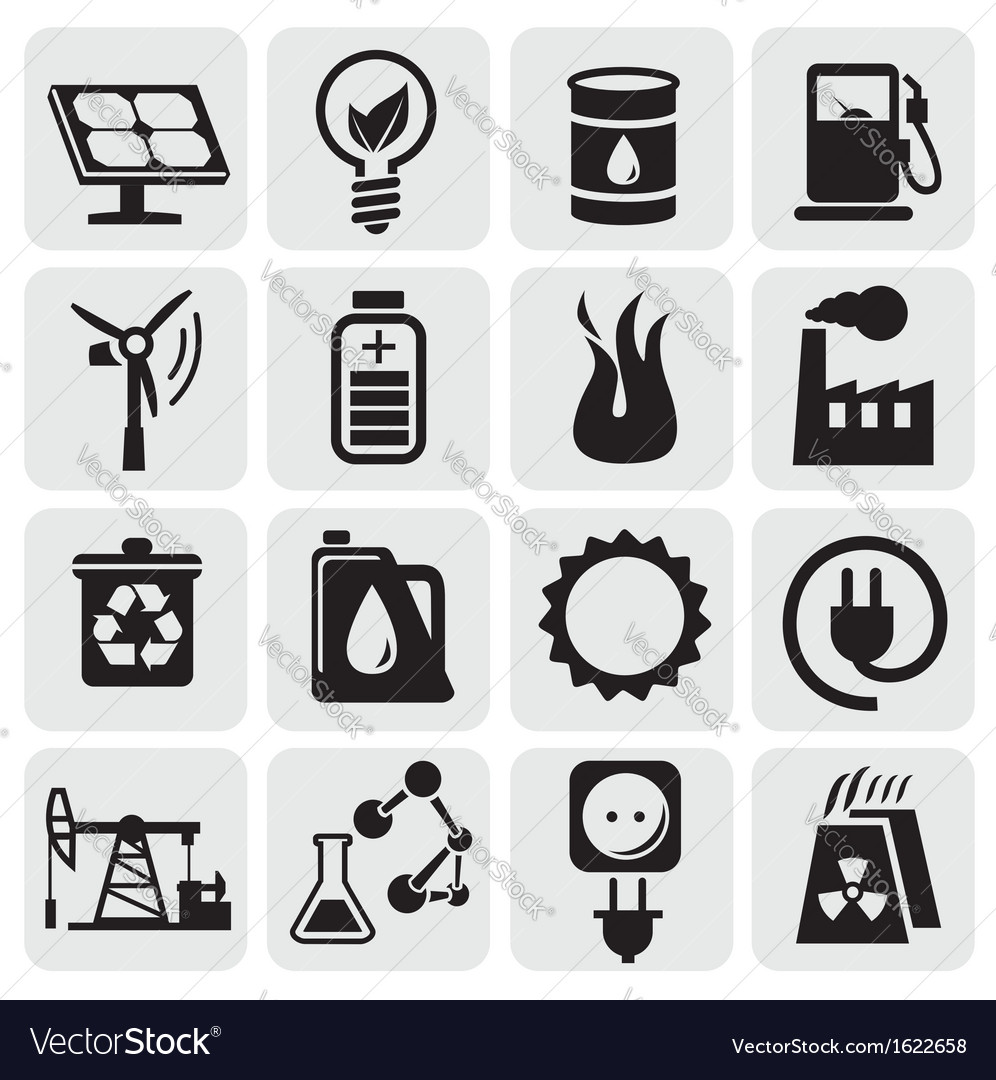 Eco icons for clean energy vector