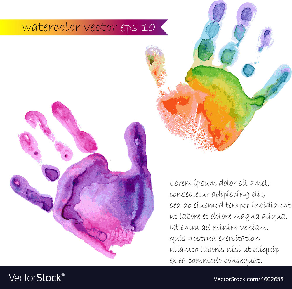 Watercolor print of two hands vector