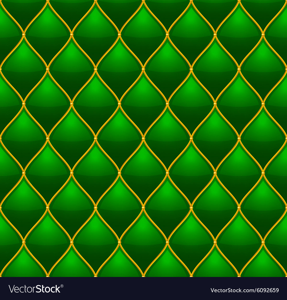 Green with gold quilted leather seamless vector