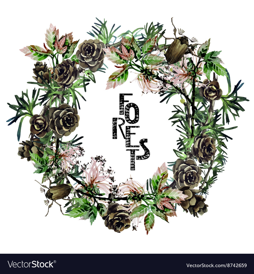 Watercolor forest wreath vector
