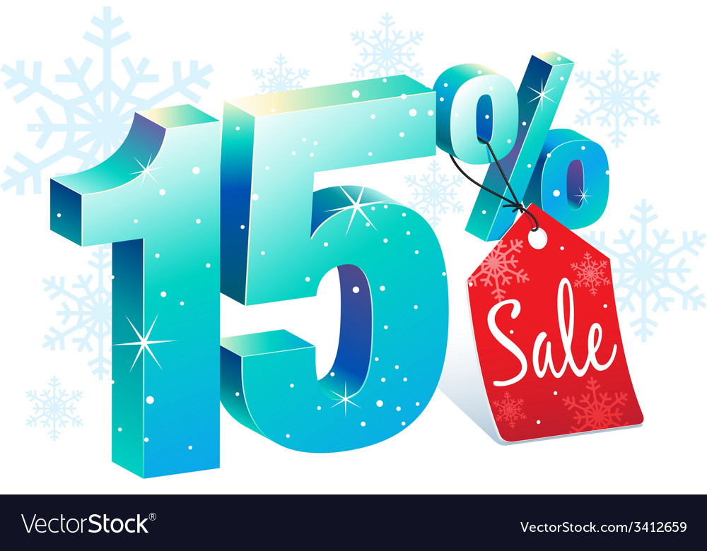 Winter sale 15 percent off vector