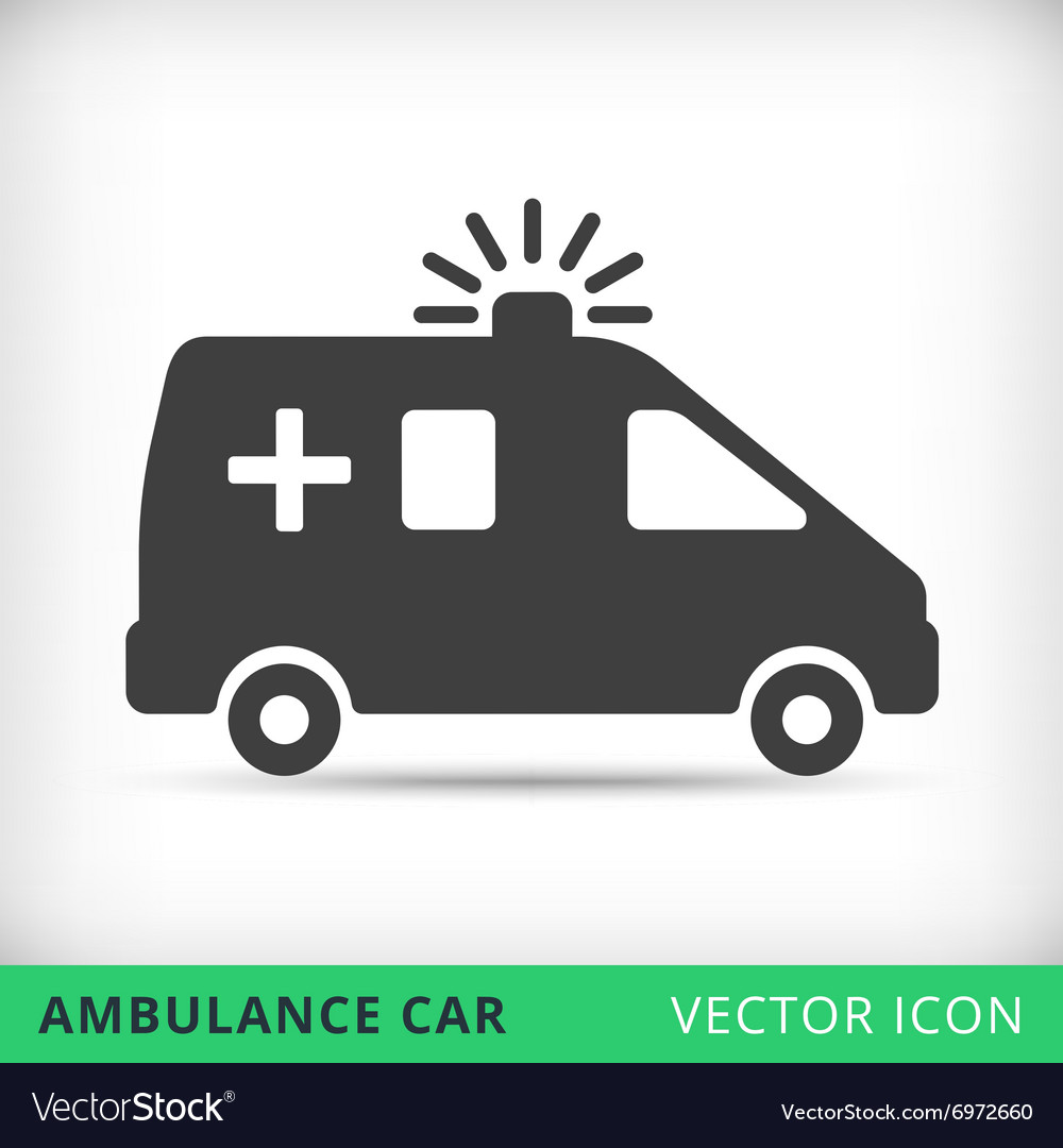 Ambulance car black icon vector