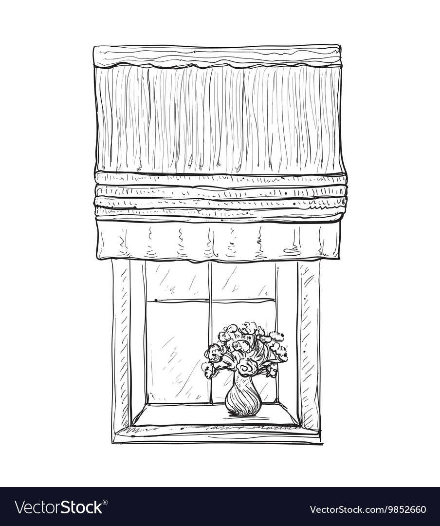 Hand drawn windows sketch vector