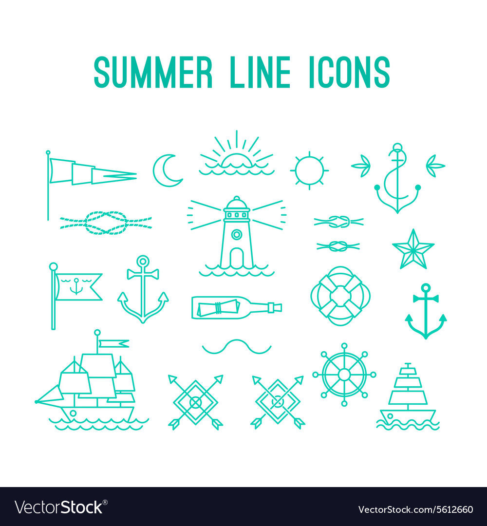 Summer line icon set nautical design elements in vector