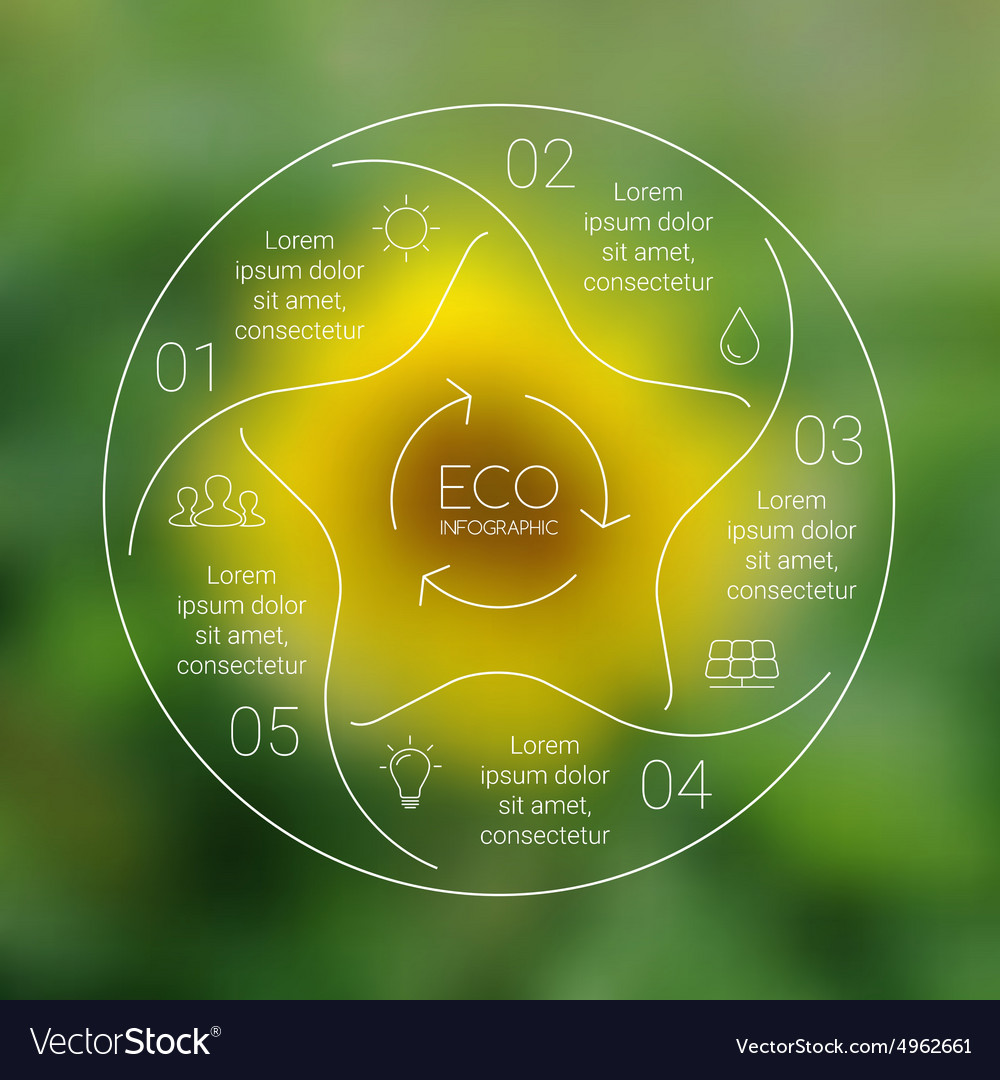 Linear circle eco nature infographic ecology vector