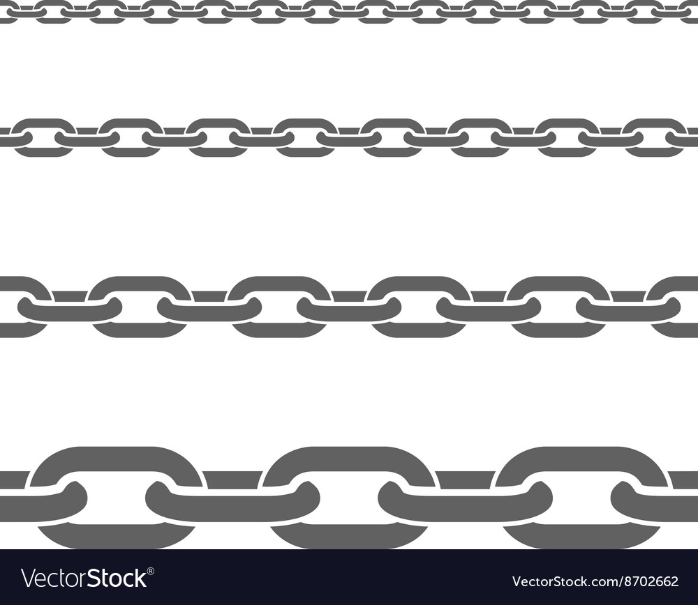Metal chains horizontal flat patterns set vector