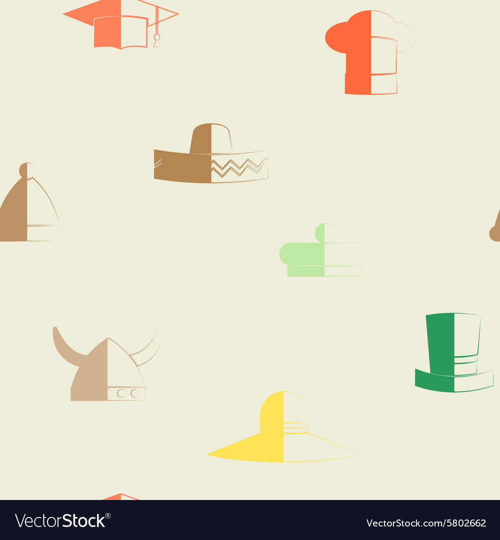 Seamless background with different hats vector