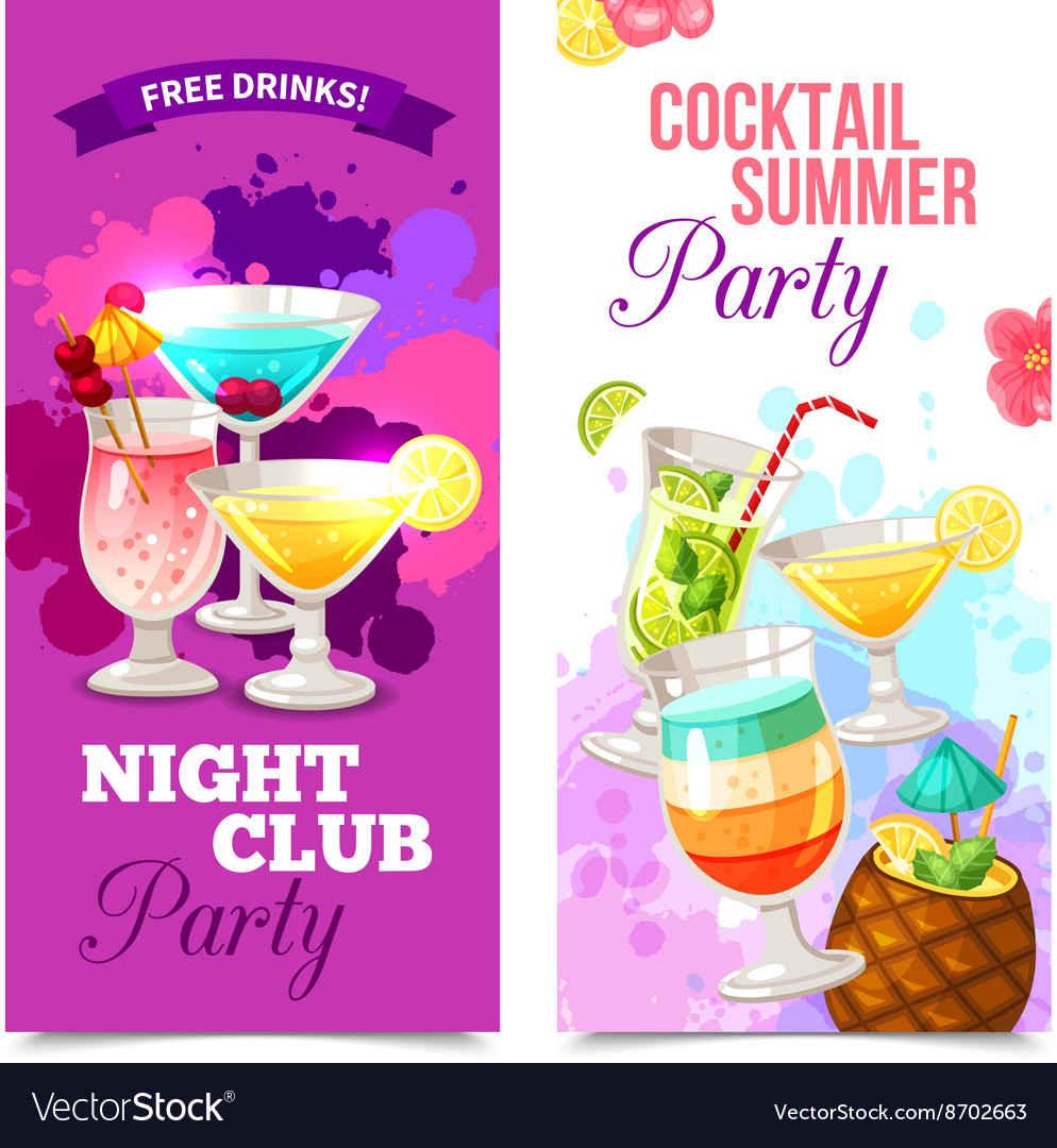Cocktails party banners vector