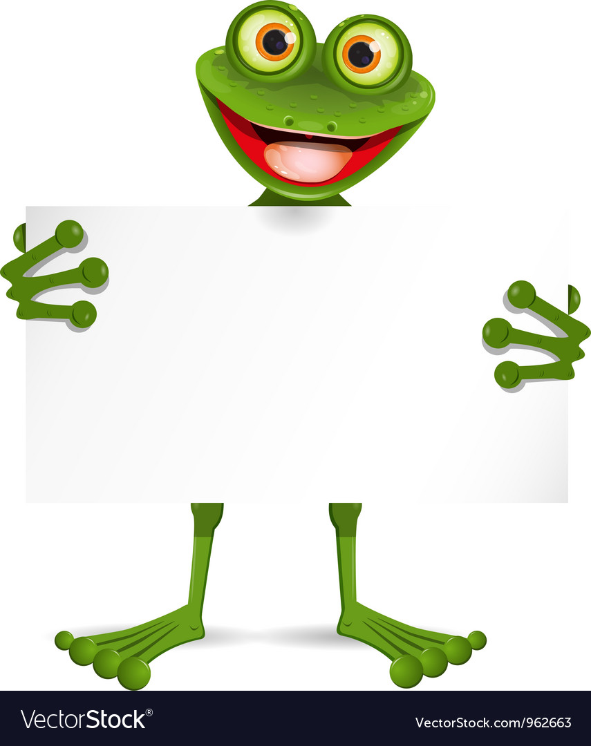 Frog with a white plate vector