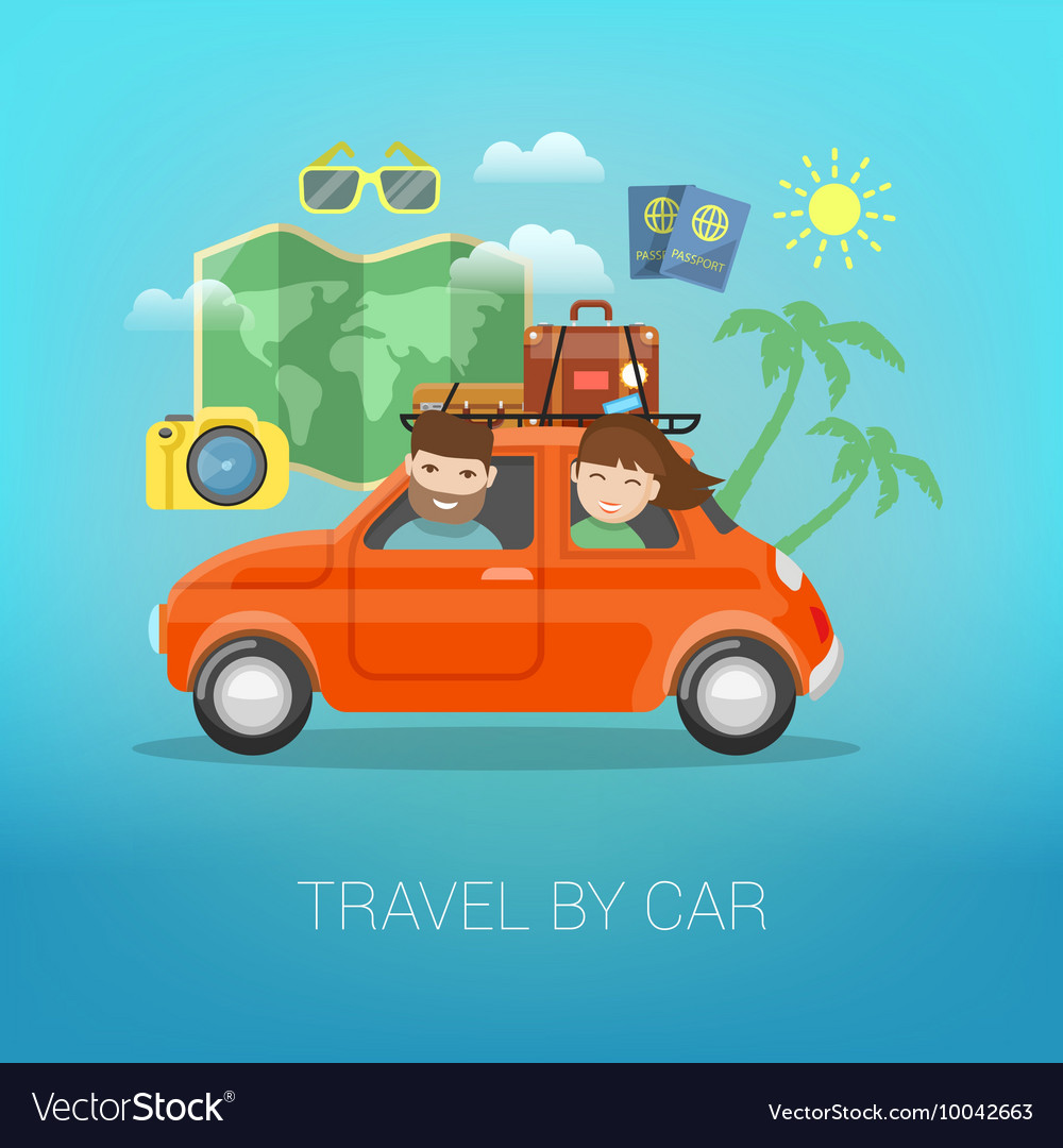 Travel by car happy couple traveling vector