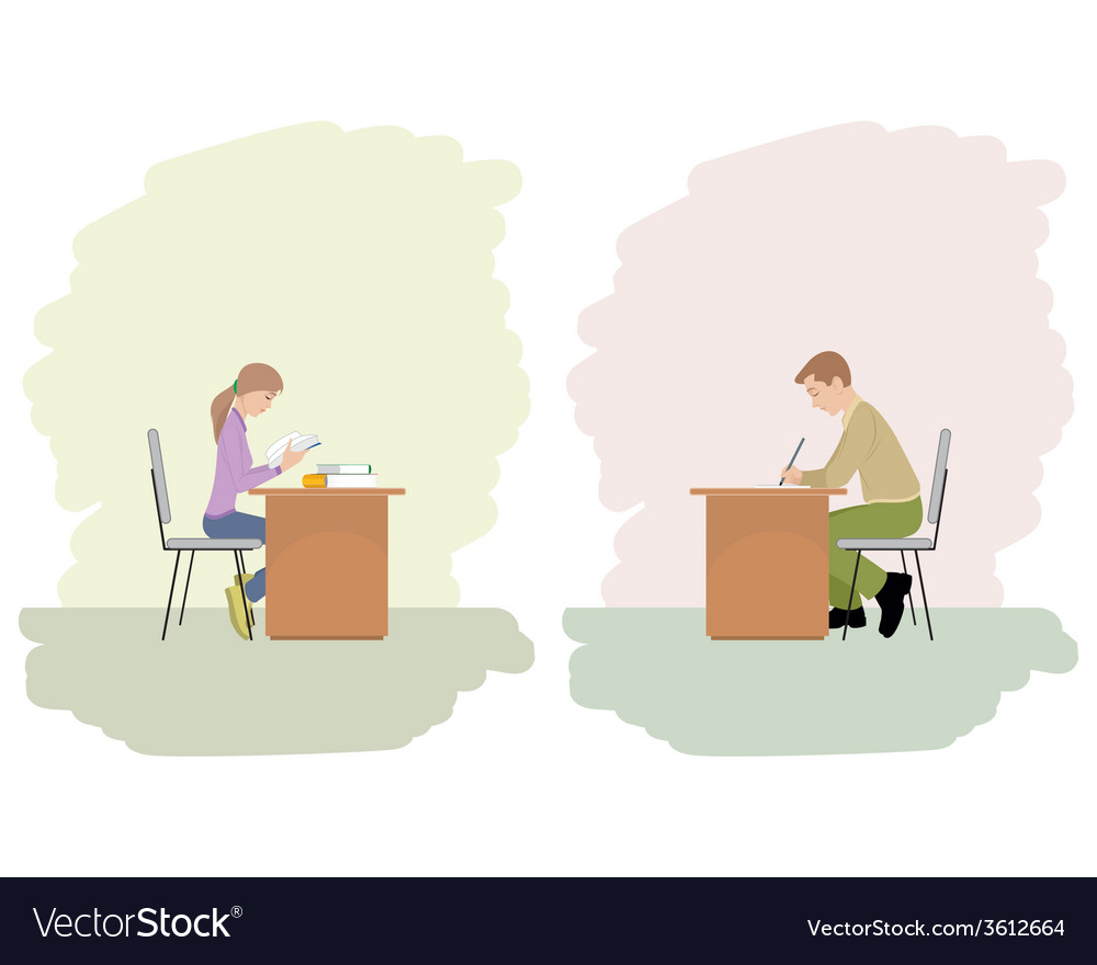 A girl and boy studying vector