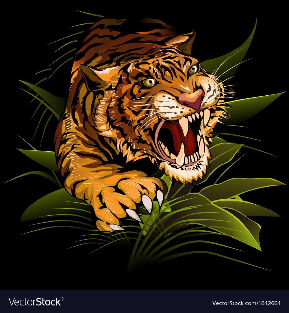 Hunting tiger vector