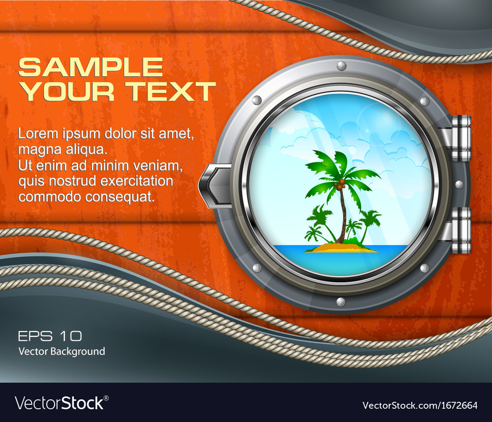 Porthole seascape with palm vector