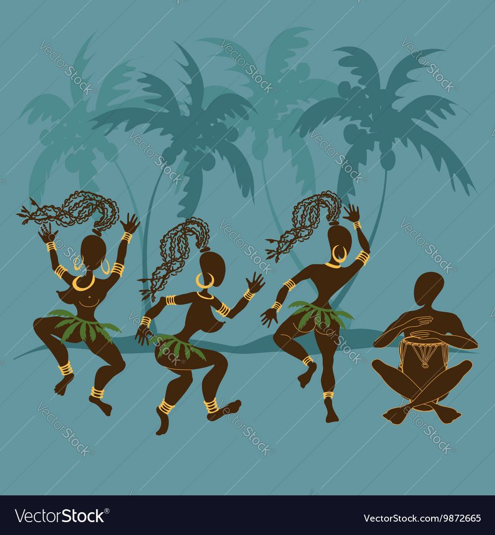 Dancing african aborigine girls and drummer vector