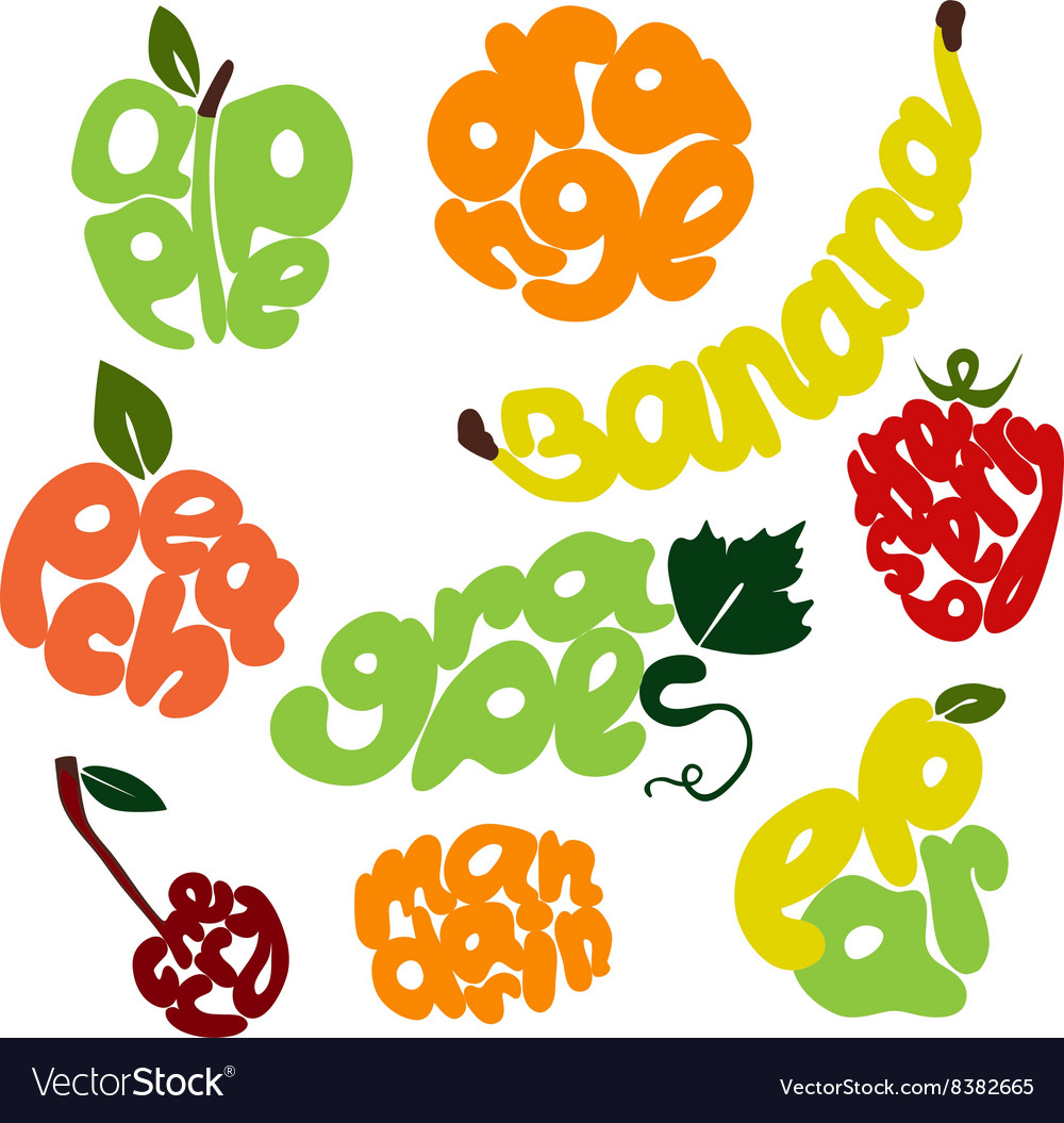 Fresh fruit lettering set vector