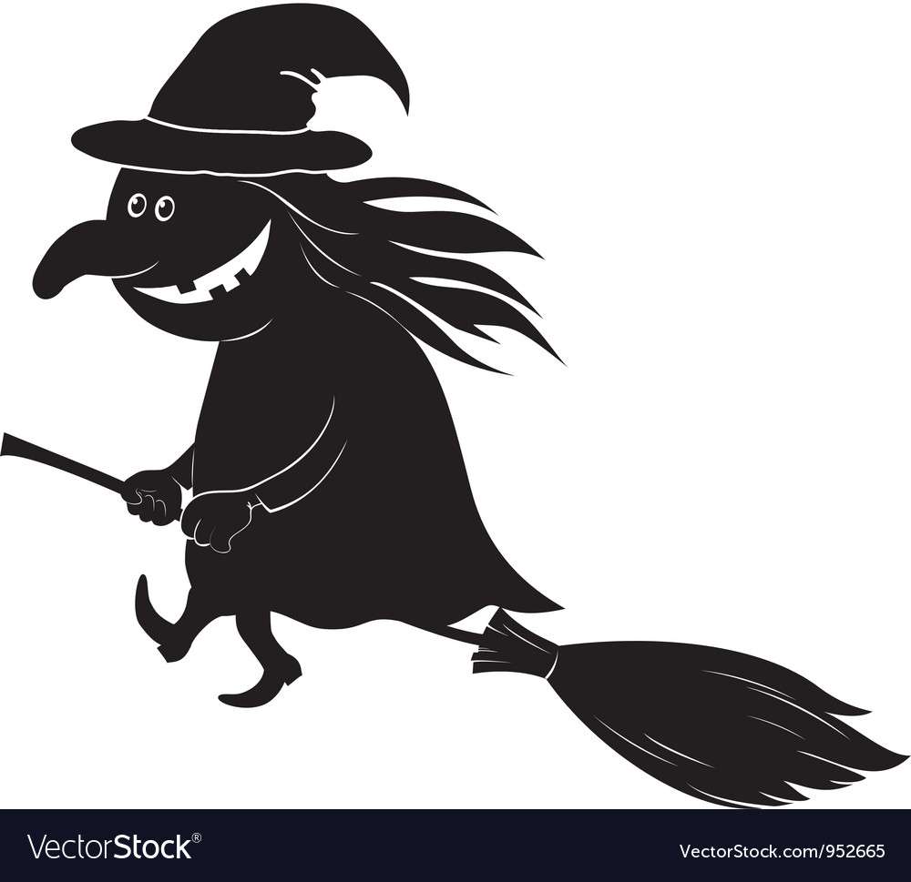 Witch flying on broom silhouette vector