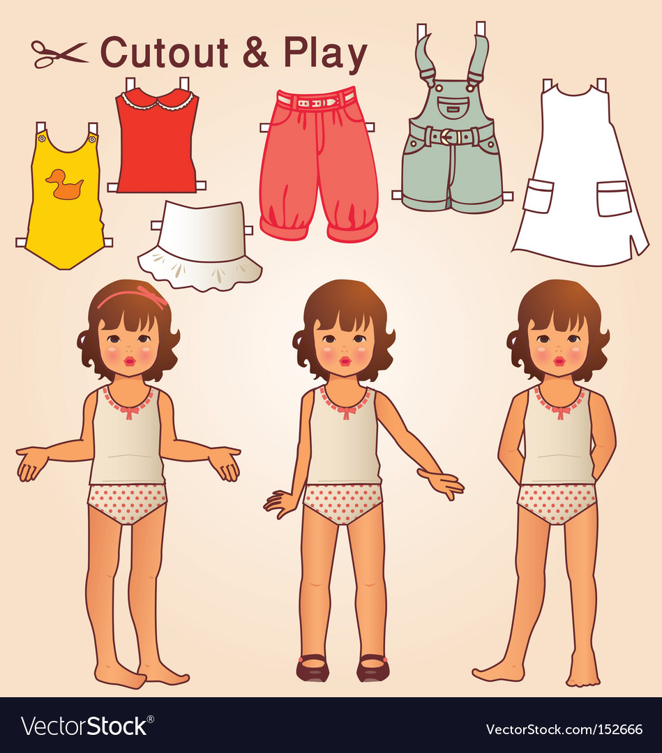 Retro doll vector