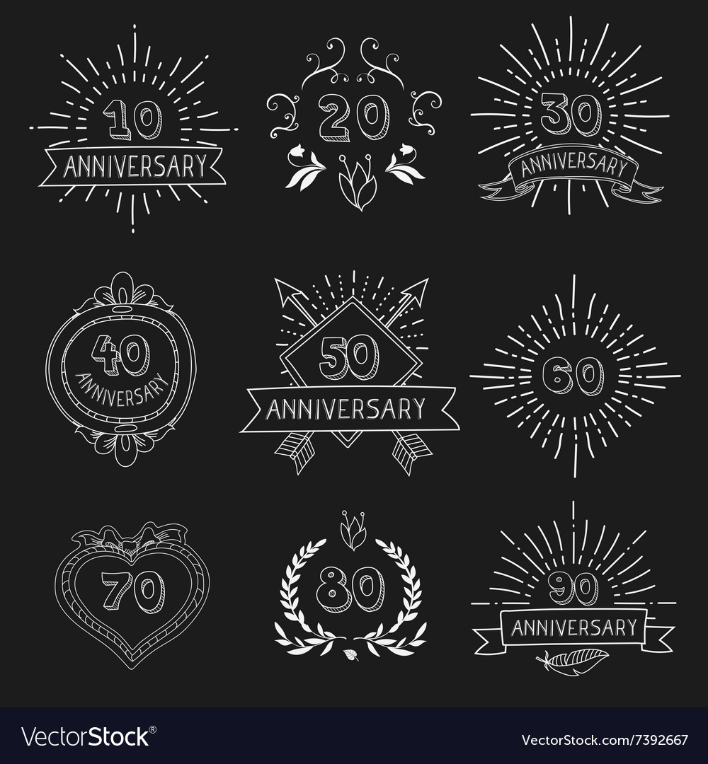 Set of anniversary signs vector