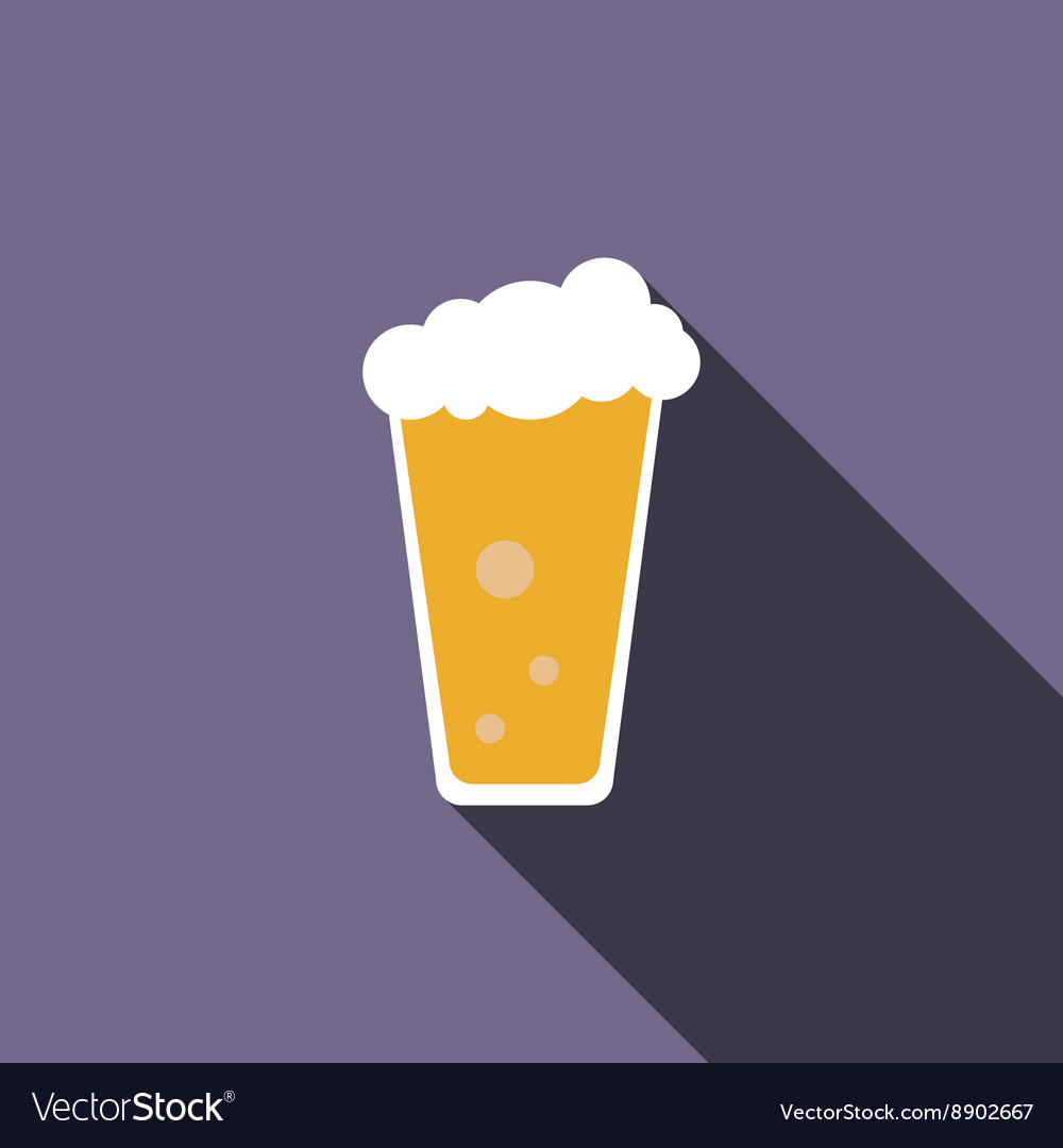 Traditional beer glass icon flat style vector