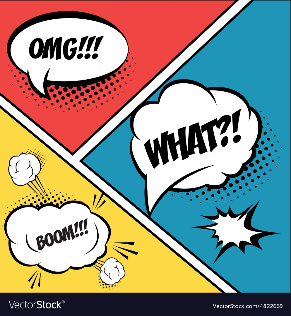 A set of comic bubbles and elements in pop artwith vector
