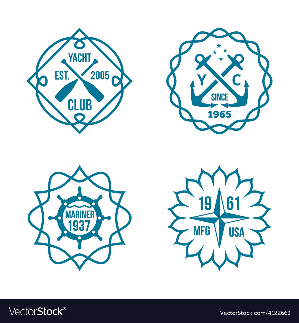 Assorted hipster logos on white background vector