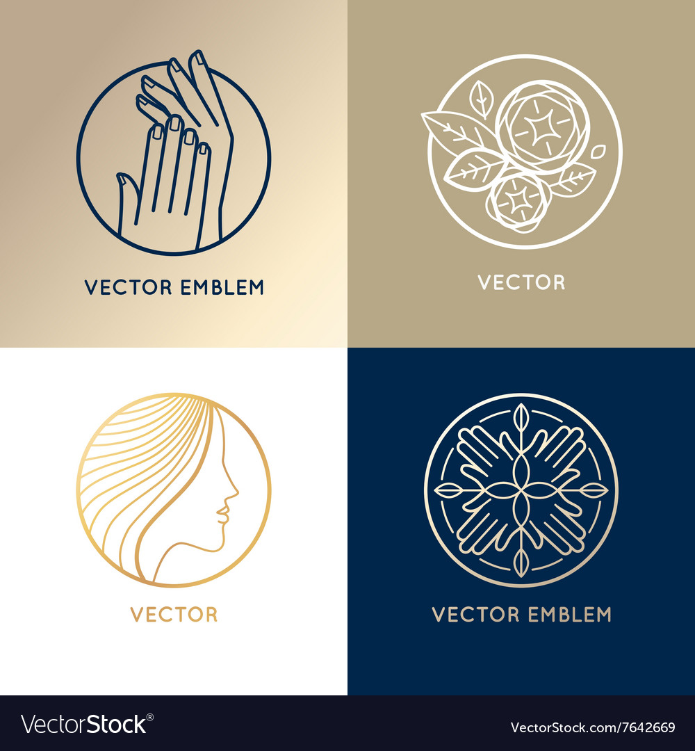 Set of linear logo design templates and icons vector