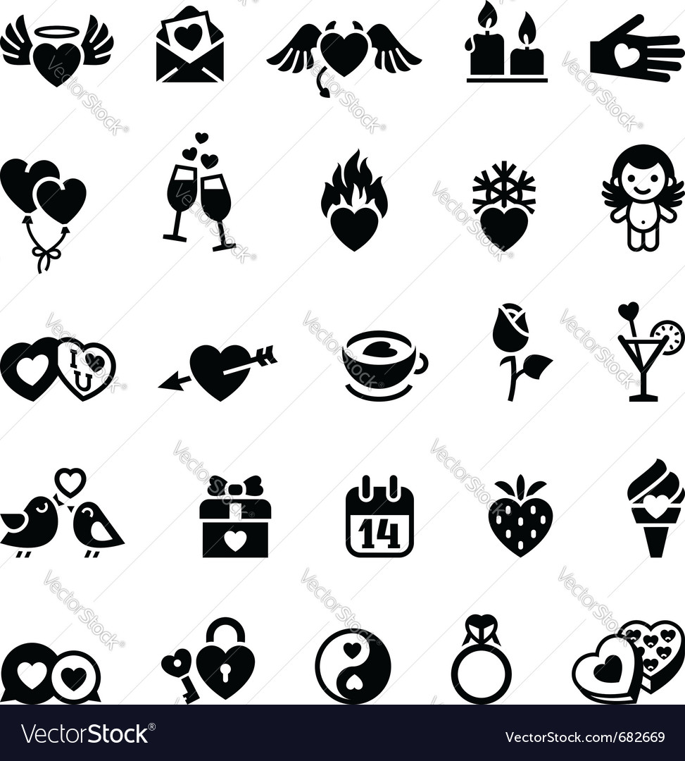 Set valentines day objects vector