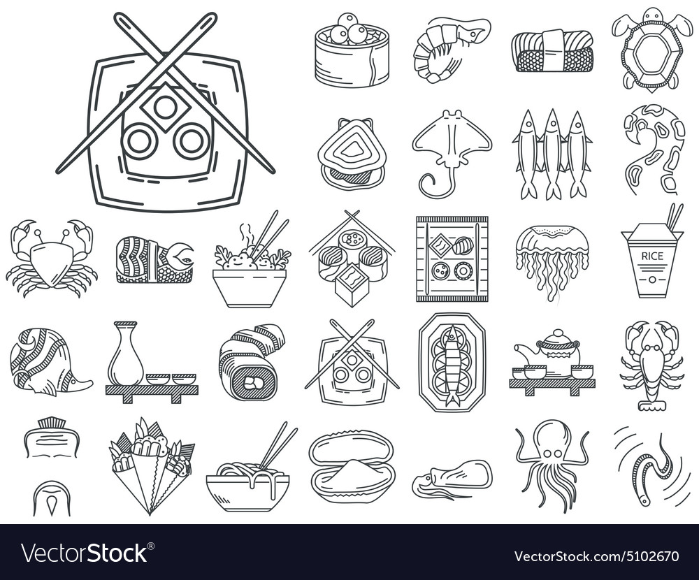 Line icons for japanese seafood menu vector