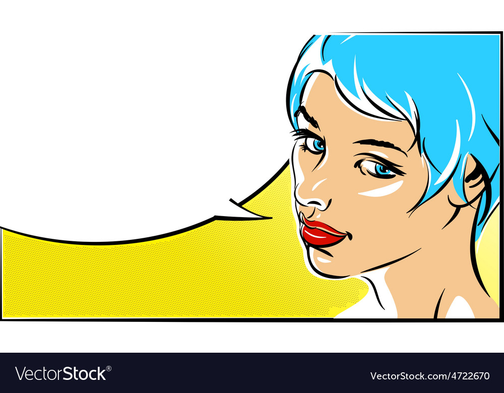 Pop art of a woman face vector