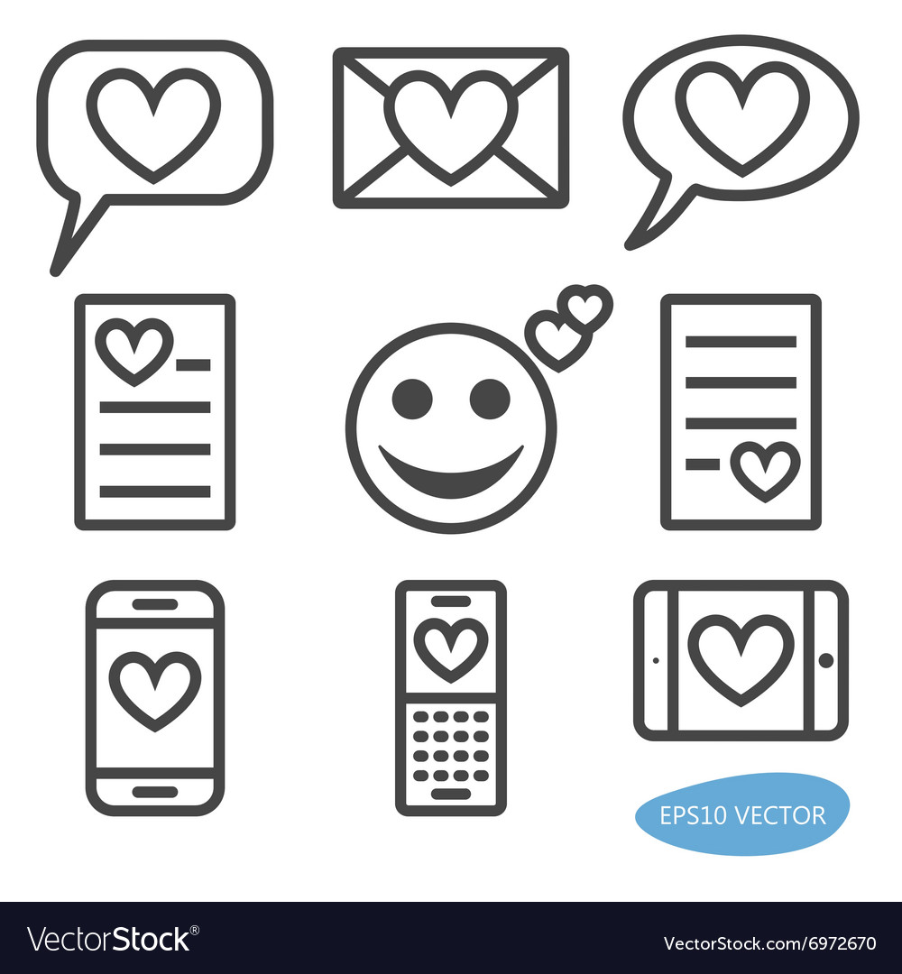 Set of love message icons vector