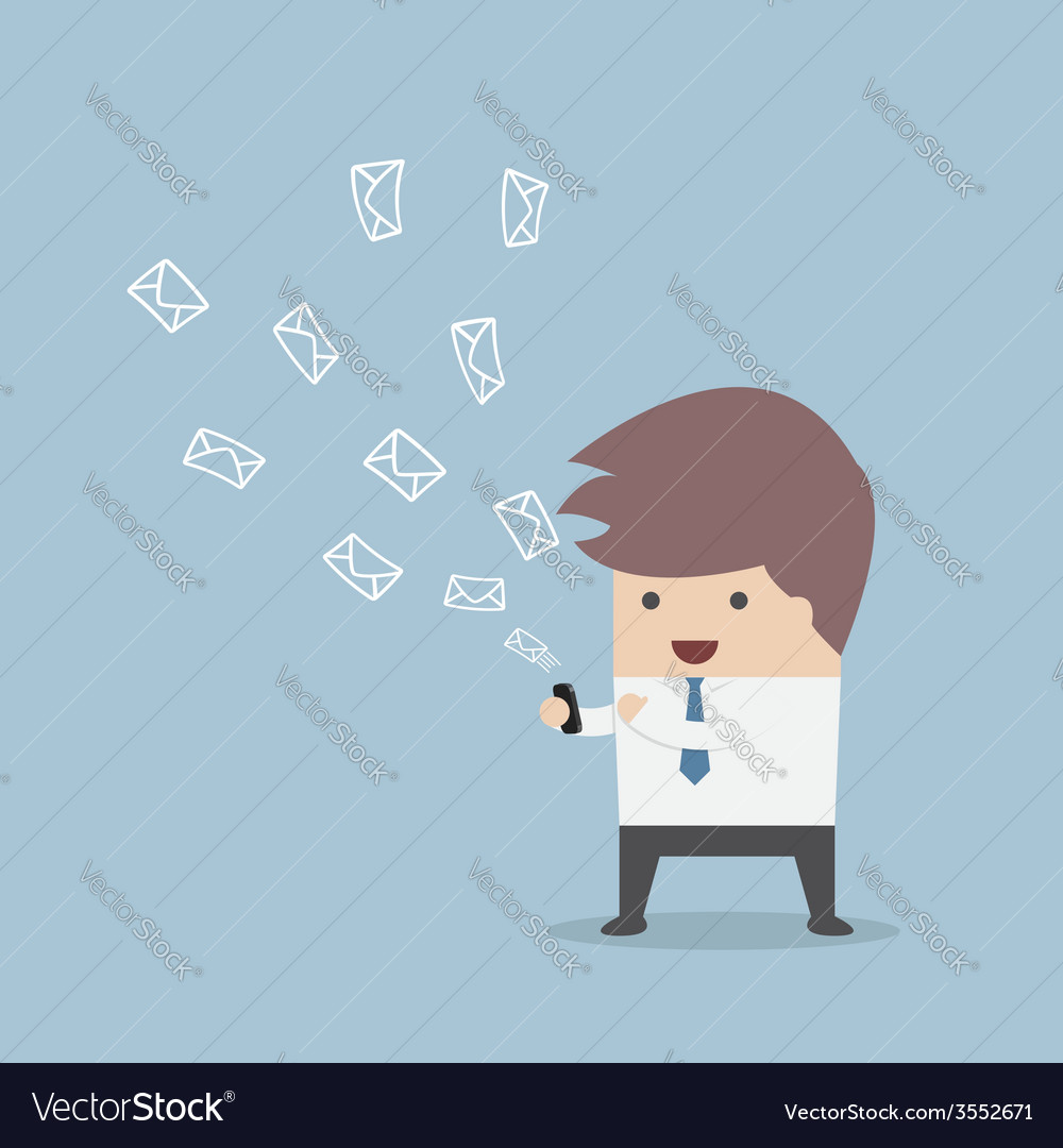 Businessman sending messages by smartphone vector