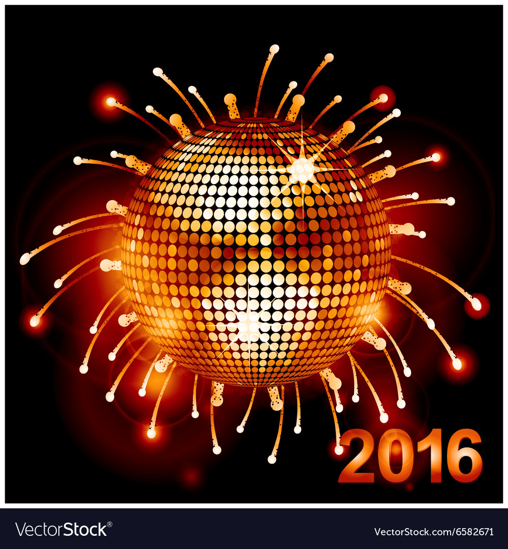 Disco ball over fireworks 2016 vector
