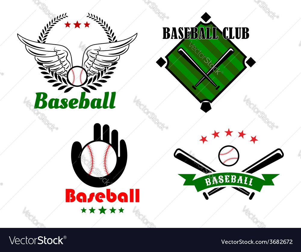 Baseball emblems and badges for sporting design vector